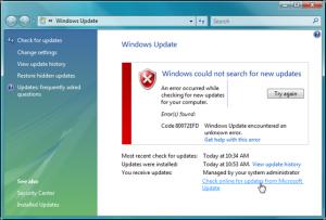 WindowsXPUpdateErrorFail